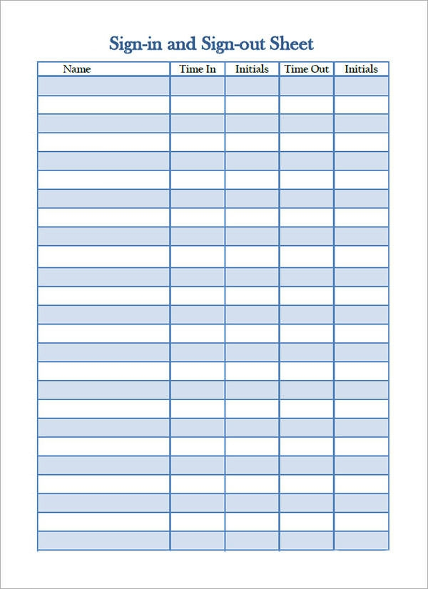 Sign In Sheet Template 21 Download Free Documents in PDF Word – Sign in Sheet