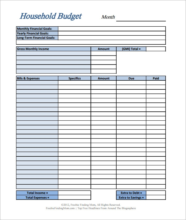 Sample Home Budget 10 Documents in PDF Excel – Printable Home Budget Worksheet