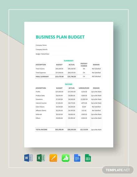 simple business plan budget template