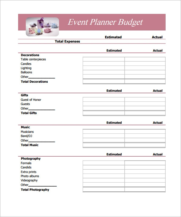 Simple Budget. Simple Event Planner Budget Template Sample Budget ...