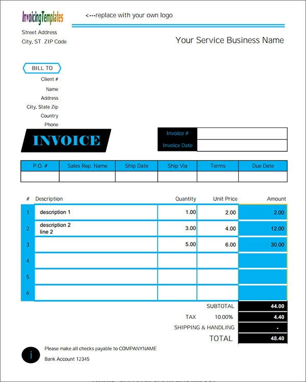simple service invoice template