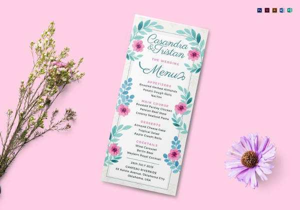 simple wedding menu template to print