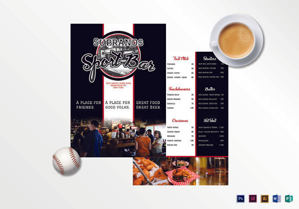 sports bar menu template1