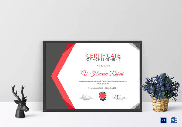 sports day achievement certificate template