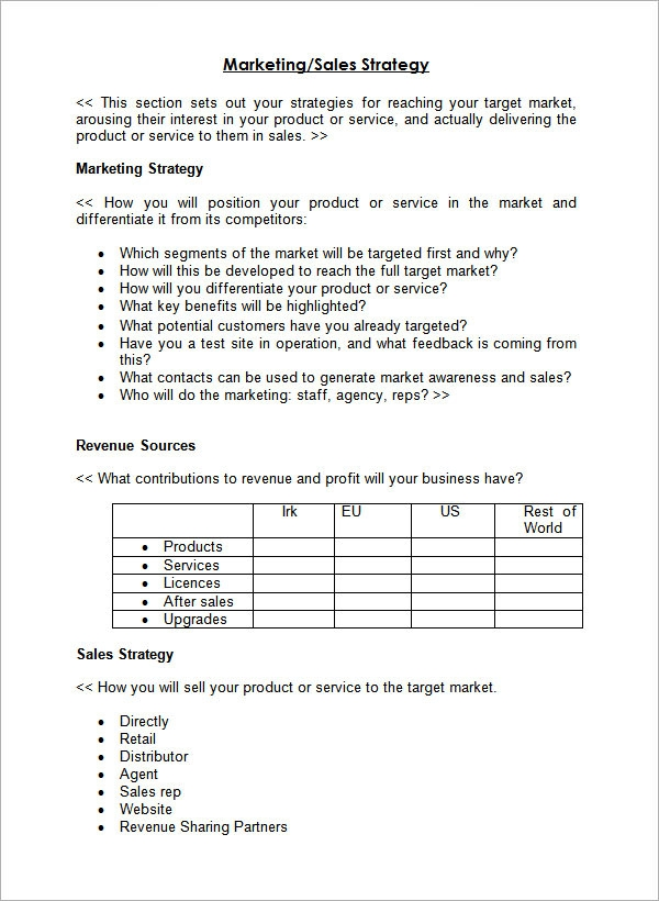 Sample Sales Plan Template 17 Free Documents in PDF RTF PPT – Sales Strategy Template