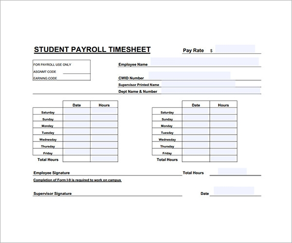 student work hours calculator template