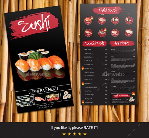 sushi bar menu template