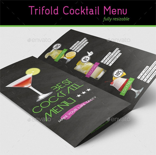 table cocktail menu template
