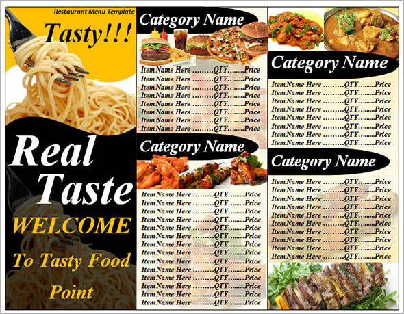 Printable Food Menu Template - 10+ Download In Pdf, Psd, Word, Eps
