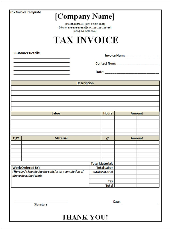tax invoice template word - Sample Invoice Template