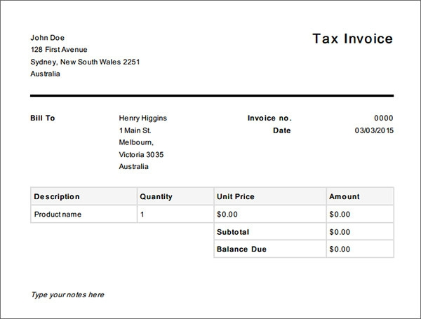 template for tax invoice