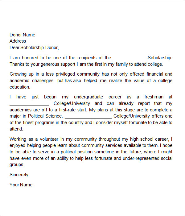 12 sample scholarship thank you letters doc pdf sample templates