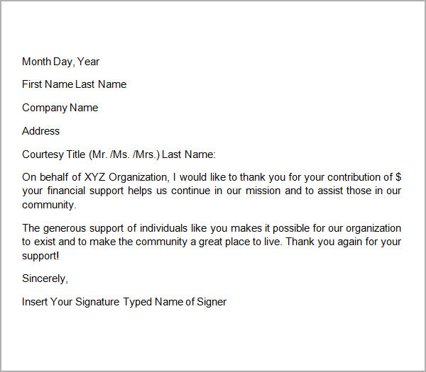Donation letter template sample thank you letters for donation expocarfo Images