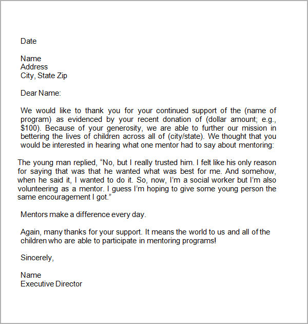 Thank You Letter For Donors  NinjaTurtletechrepairsCo