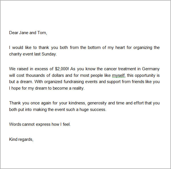 thank you note for fundraiser support