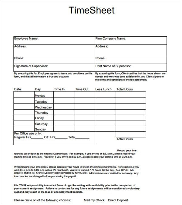 Timesheet Calculator Template. Weekly Employee Timesheet ...