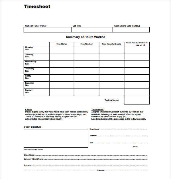 Temporary Worker Timesheet