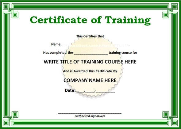 Exceptional Training Certificate Template