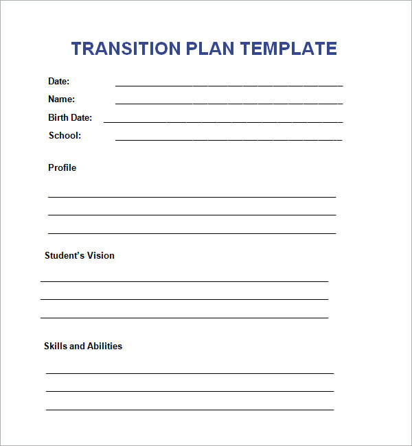 transition plan template word sample transition plan template