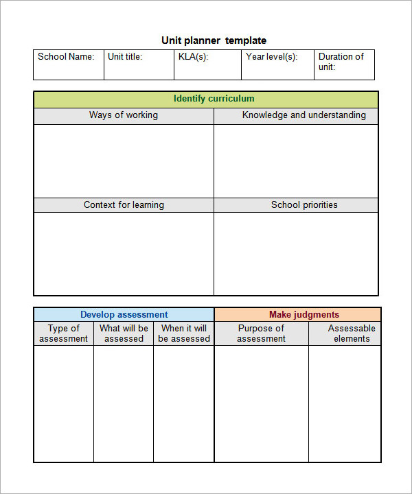 Unit Plan Template   Download Documents In Pdf  Word