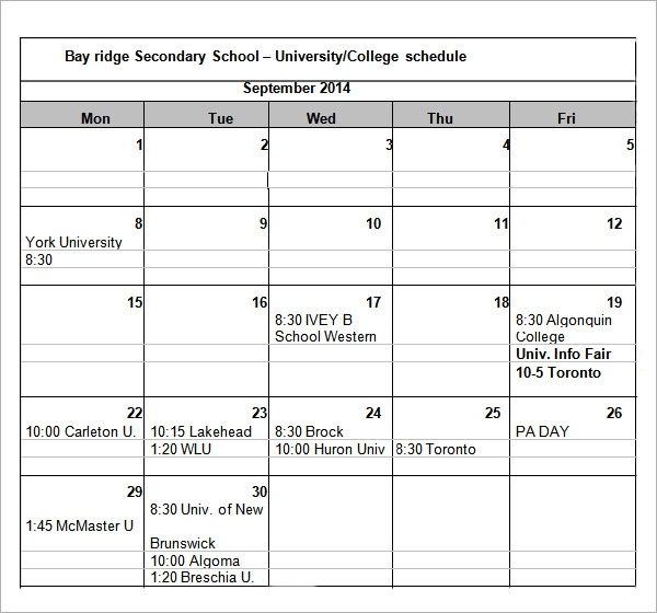 Sample College Schedule - 5+ Documents In Word, Excel, Pdf