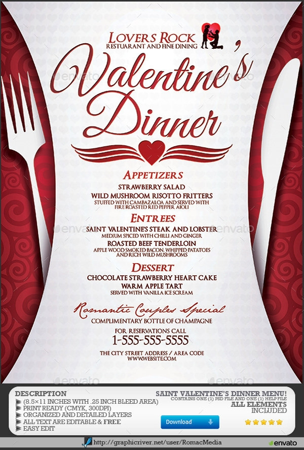 "... for ""Valentines Day Dinner Menu Template"" – Calendar 2015"