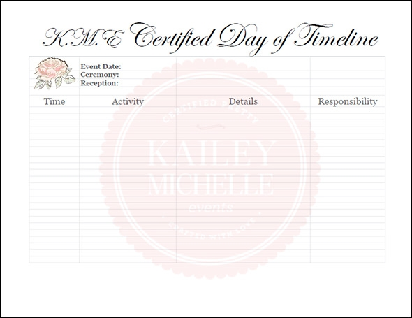 Wedding Day Timeline Template wAPWlNle