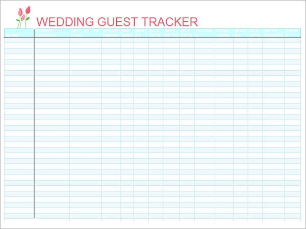 wedding guest list organizer template excel