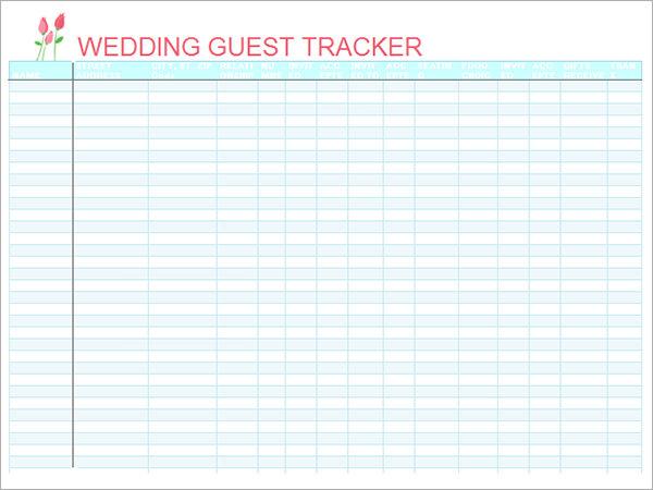 wedding guest list spreadsheet template – Printable Wedding Guest List Template