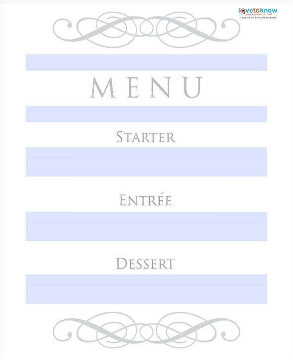 wedding menu template1