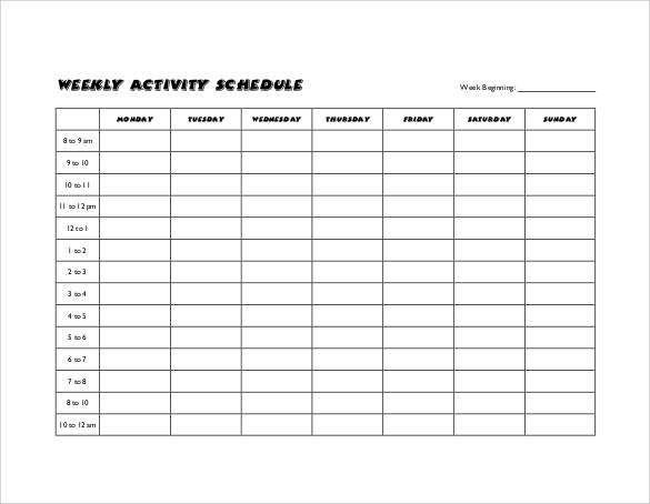 activity timetable template 35 sample weekly schedule templates sample templates