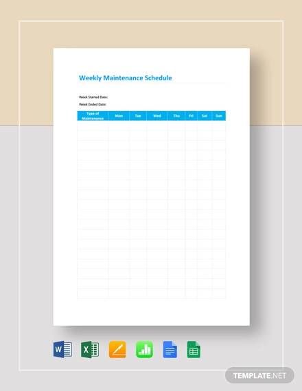 weekly maintenance schedule template