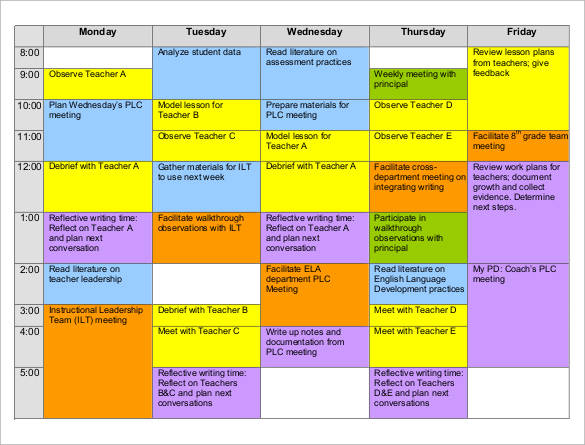 35 sample weekly schedule templates sample templates for Timetable templates for teachers