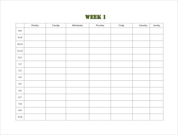 Weekly Timetable Schedule Template  Monday To Sunday Schedule Template
