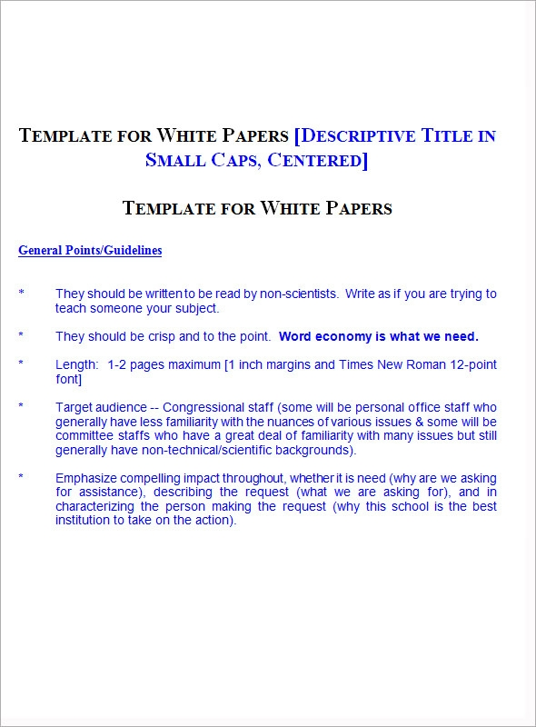Sample White Paper Template - 12+ Free Documents In Pdf, Word