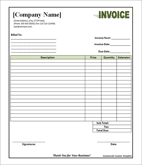 18 Free Commercial Invoice Templates Sample Templates
