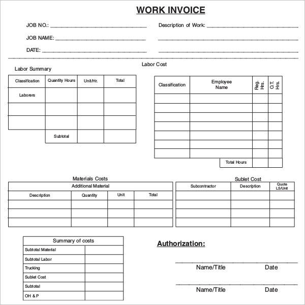 free 47  sample blank invoice templates in word