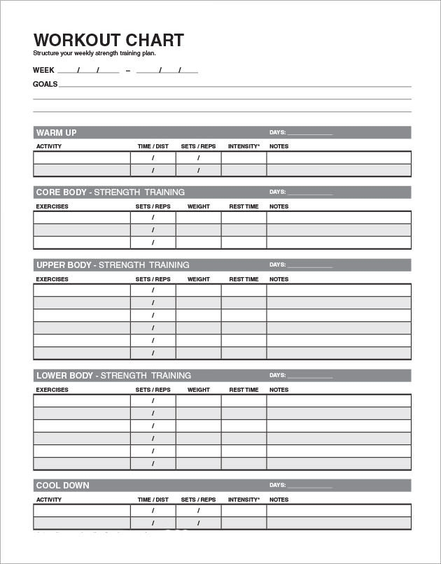 5 sample workout schedules sample templates for Fitness plan template weekly