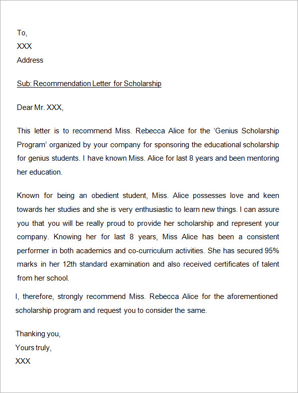 Sample Letter of Recommendation for Scholarship - 15+ Examples in Word ...