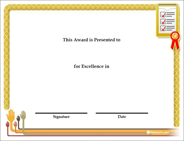 Excellence award certificate template word yadclub Images