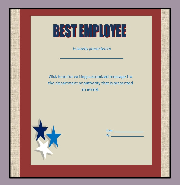 Award Certificate Template 29 Download in PDF Word Excel PSD – Best Employee Certificate Sample