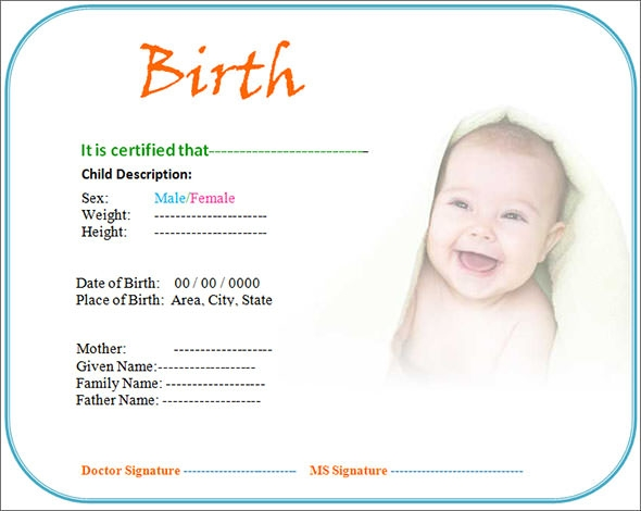 Birth Certificate Template 1  Birth Certificate Template For School Project