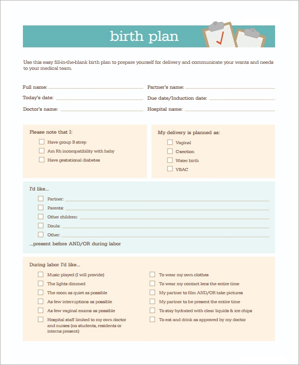 Birth Plan Template   20  Download Free Documents in PDF Word Ny0o11Lq