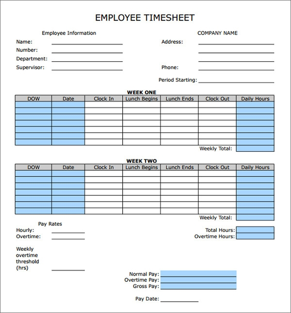 Sample Employee Timesheet Calculator. Weekly Employee Timesheet ...