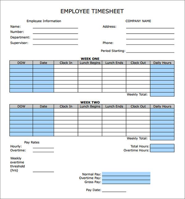 bi weekly timesheet template .