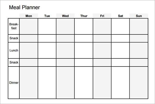 Sample Meal Planning Template  Download Free Documents In