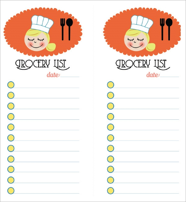 Sample Grocery List Template 9 Free Documents in Word Excel PDF