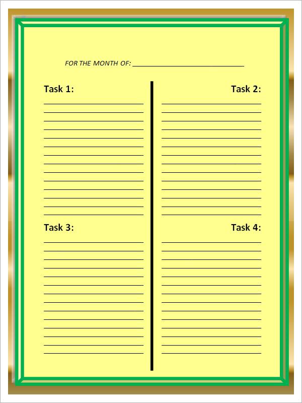 blank work schedule template2