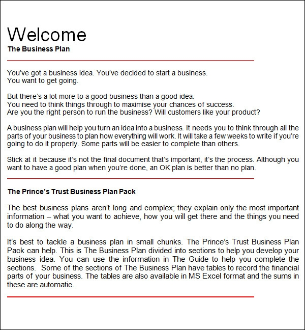 Bussines Plan Templates Sample Templates