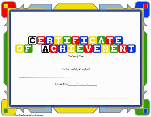 certificates of achievement for kids